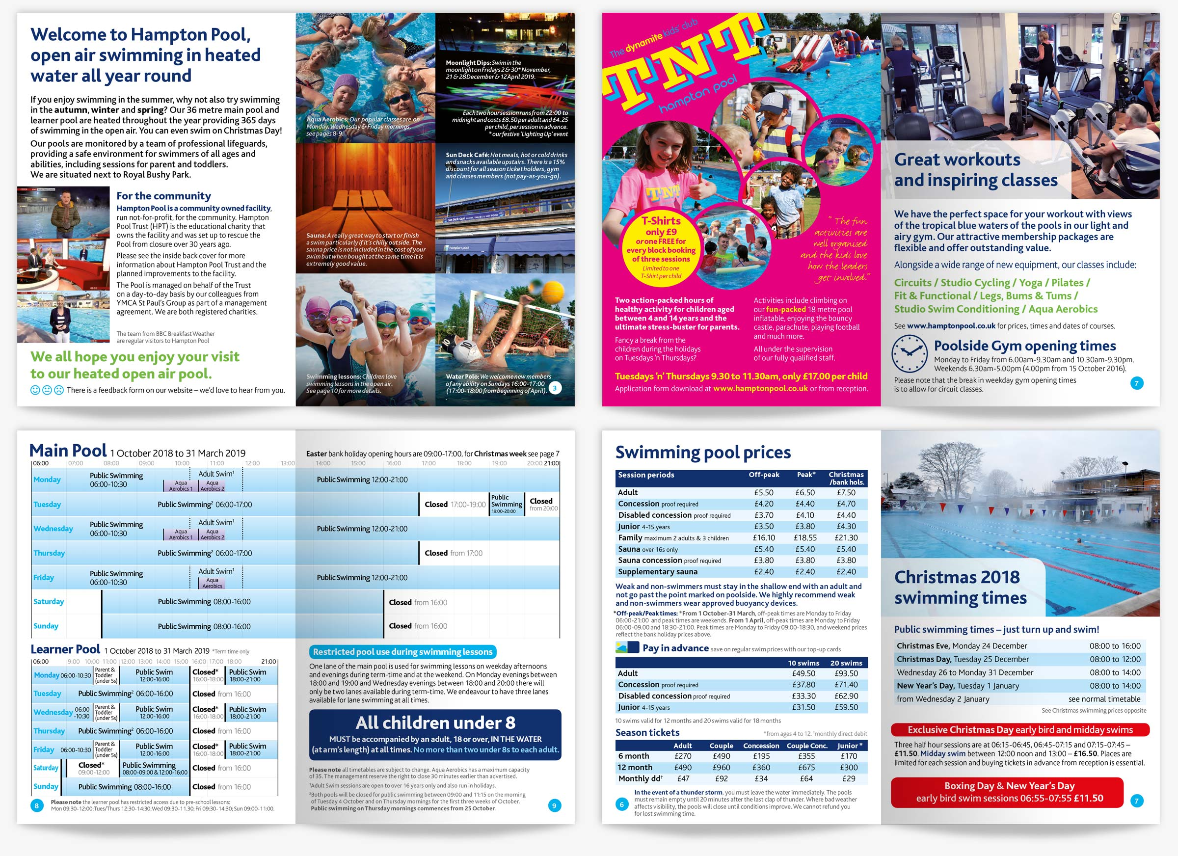 Hampton Pool timetable booklet