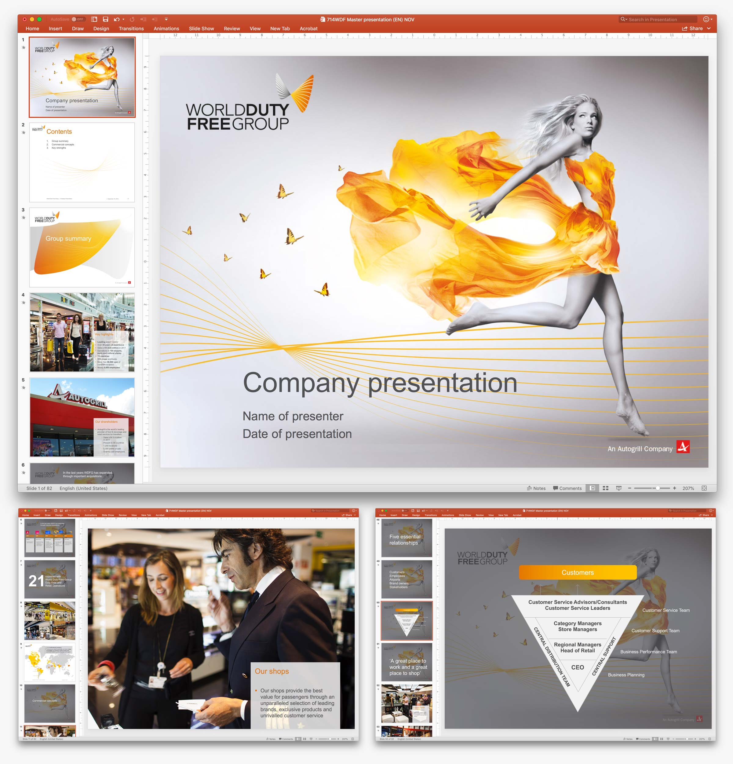 World Duty Free Group PowerPoint template