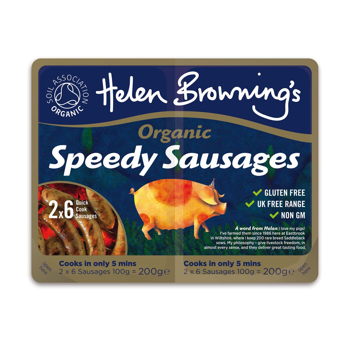Helen Browning's Organic Speedy Sausages pack design