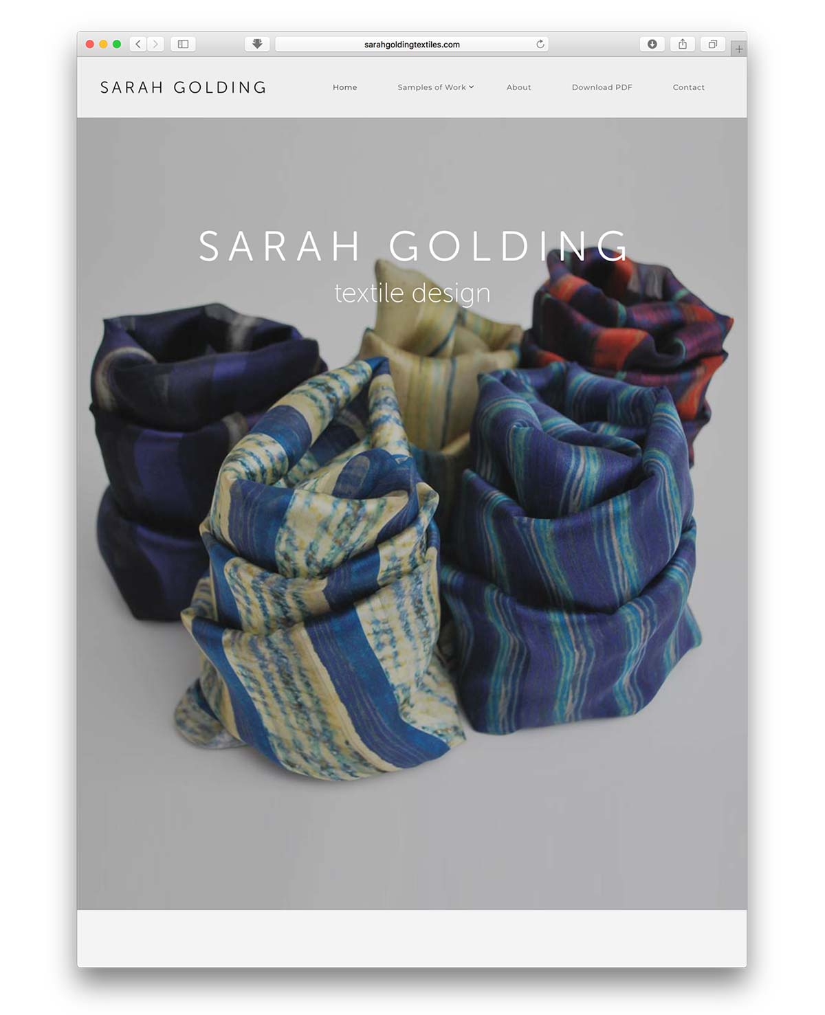 Sarah Golding Textile Design website design