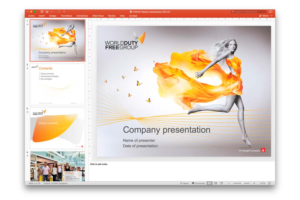 World Duty Free Group PowerPoint template and master presentation